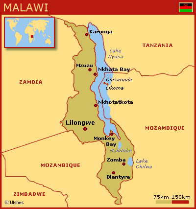 Malawi har grænser til Mozambique, Zambia og Tanzania. Kilde: www.at-rejse-er-at-leve.dk
